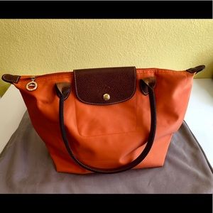 Longchamp Small leather trimmed top Handel bag